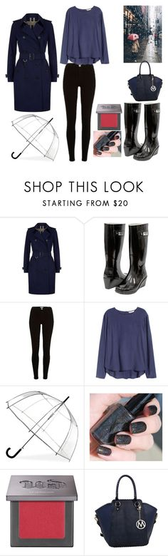 """rainy day ☔🌂"" by mayamaya269 ❤ liked on Polyvore featuring Burberry, Forever Young, River Island, H&M, ShedRain and Urban Decay"
