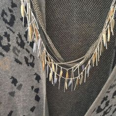 The Freya necklace ($118) paired with an animal print poncho from #cabi #StellaDot #StellaDotStyle #Cape #Fringe #animalprint
