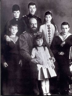 Nicholas with mother Maria Feodorovna, sisters Xenia  and Olga Alexandrovna, brothers Michael and George Alexandrovich and father Tsar Alexander III