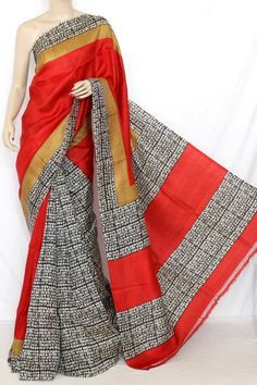 Red Double Knitted Murshidabadi Pure Silk Vadic Print Saree (With Blouse) 13802