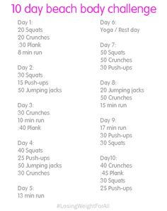 10 Day Beach Body Challenge         ~          Losing Weight For All
