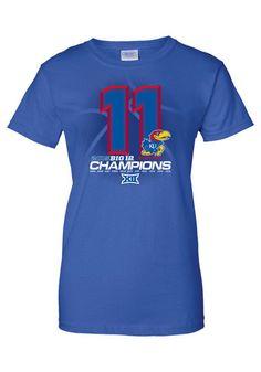 Kansas Jayhawks #11Straight Big 12 Champions Womens Tee http://www.rallyhouse.com/kansas-jayhawks-womens-royal-big-12-champs-short-sleeve-crew-t-shirt-8090347?utm_source=pinterest&utm_medium=social&utm_campaign=Pinterest-KUJayhawks $24.99