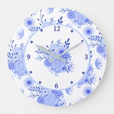 Shop Blue Delft Floral Wall Clock created by DizzyDebbie. Personalize it with photos & text or purchase as is! Floral Flowers, Blue Flowers, Blue Kitchen Curtains, Floral Wall, Delft, Artwork Design, Hand Coloring, Wall Art Decor, Room Decor