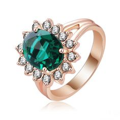 May Birthstone Emerald Ring (18K Rose Gold Plated)