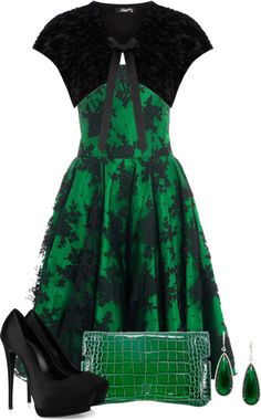 """""""Green and Black"""" by fashion-766 ❤ liked on Polyvore"""