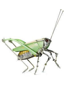 Insect Sculptures made from discarded junk ~Artwork by Edouard Martinet #grasshopper