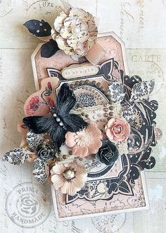 I love the colors, layers and texture of this scrapbook design: Karola Witczak's Gallery: {Remember} tag *Prima*