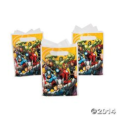 Avengers Assemble Favor Bags, Plastic Favor Bags, Party Bags & Containers, Party Favors, Party Supplies - Oriental Trading