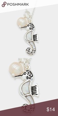 """Mother of Pearl Seahorse Pendant Necklace • Color : Mother of Pearl, Antique Silver • Theme : Reptile, Sea Life  • Necklace Size : 18"""" + 3"""" L • Pendant Size : 0.5"""" X 1.3"""" • Mother of pearl seahorse pendant necklace Jewelry Necklaces"""