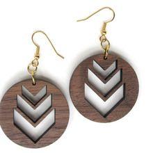 Chevron Wood Earrings - Laser Cut Walnut Wood & Gold Earrings