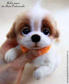 Купить Щенок Тишка - щенок, щеночек, собака, собачка, собака из шерсти, собака игрушка