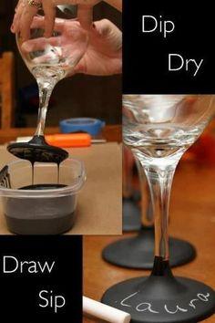 Chalk wine glasses! Dip in blackboard paint , brilliant idea! How cute for bachelorette party or shower?