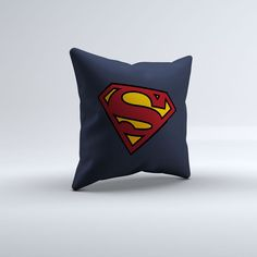 Blue Superhero Logo Throw Pillow