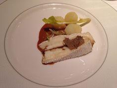Truffled Wigmore cheese, potato, dandelion, praline vinaigrette at the Roux at the Landau