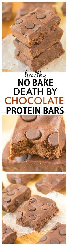 Healthy No Bake Death By Chocolate Protein Bar recipe- Chewy packed full of chocolate and protein and ready in just ten minutes this healthy quick and easy snack bar is SO delicious! {vegan gluten free sugar free and paleo option} Protein Bar Recipes, Protein Powder Recipes, Protein Snacks, Protein Cake, Protein Muffins, Protein Cookies, Easy Protein Bars, Sugar Free Protein Bars, Protein Bites