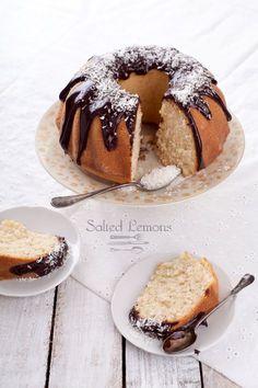 Coconut cardamom cake with chocolate glaze