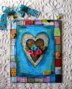Mixed Media Love Bird Art by CrimsonHeartStudios on Etsy, $40.00