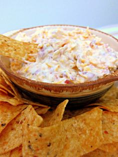 Cheddar Bacon Dip (aka Crack Dip) | Plain Chicken...  16 oz sour cream, 1 packet Ranch dressing mix, 3 oz bacon bits (in the bag not jar), 1 cup shredded cheddar cheese... Mix together and refrigerate 24 hours. Serve with chips and/or veggies.
