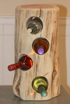 Rustic Wine Holder cedar tree stump holds 4 bottles approx - in diameter and - in height can sit on counter Tree Stump Furniture, Log Furniture, Furniture Makeover, Furniture Ideas, Modern Furniture, Outdoor Furniture, Wood Stumps, Tree Stumps, Tree House Decor