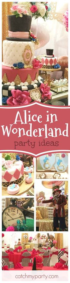 Step into this amazing Alice in Wonderland Quinceañera! The dessert table is fabulous. Just look at that cake!!