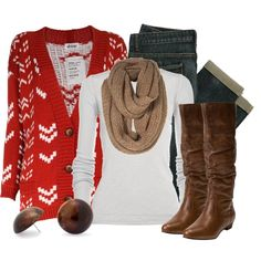 """""""Red & Brown"""" by qtpiekelso on Polyvore"""