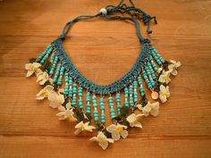 bib necklace turquoise teal white oya flowers by PashaBodrum, $28.00