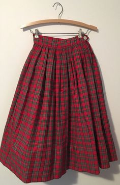 1950s Vintage Novelty print Holiday skirt Christmas Tartan Plaid Cotton Pleated #Handmade