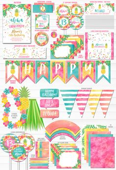 Printable Pineapple Luau Complete Birthday Party Package   Hawaiian Luau Party Decor   Watercolor Hawaii Party   Summer Birthday   Flamingo   Kids, Teen or Adult Party Theme   Favor Tags   Invitation   Cupcake Toppers   Food Labels   Banner   Signs   Photo Props and more!