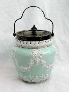 Victorian Biscuit Barrel Cracker Jar Blue White Jasperware Floral Swags Bows