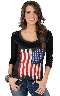 Rock & Roll Cowgirl® Women's Charcoal & Black with American Flag & Lace 3/4 Sleeve Shirt