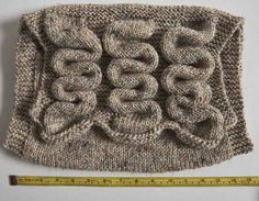 This is what the bag looks like before fulling. The short-row columns create a rippled texture.