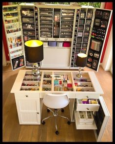 Craft Organization Cupboard - Cheap Craft Room Storage and Organization Furniture Ideas 15 Craft Room Storage, Craft Storage Furniture, Craft Desk, Craft Organization, Furniture Ideas, Furniture Design, Furniture Inspiration, Storage For Art Supplies, Organizing Ideas