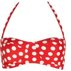 Forever 21 Women's  Retro Dots Bikini Top ($13) ❤ liked on Polyvore featuring swimwear, bikinis, bikini tops, swimsuits, bikini, swim, bathing suits, bikini swimsuit, swimsuit tops and retro swimsuit