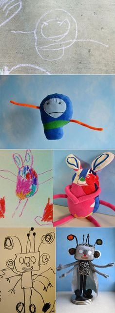 Vancouver-based Wendy Tsao started Child's Own Studio, a home-based toy design studio with a twist: Tsao doesn't design the toys. Children do. Tsao's brilliant insight was to create one-off toys for a child modeled exactly on a drawing done by that child. Unique Toys, Child Models, Drawing For Kids, Softies, Art And Architecture, Cool Stuff, Kid Stuff, Kids Playing, Activities For Kids