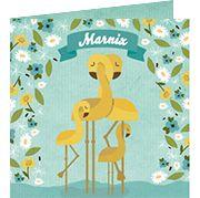 www.hetuilennestje.nl  geboortekaartje Marnix Everon Max: Geboortekaartje, Flamingo, Flamingo's, Illustratief, dieren, landschap, blauw, groen, geel, wolken, bloemen, jongen.