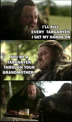 Finally someone pointed this out! It's why Ned gave Robert the throne, he's part Targaryen