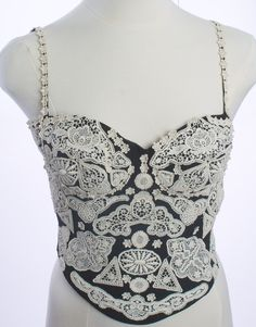 MOSCHINO COUTURE BLACK WHITE EYELET BUSTIER SIZE 00