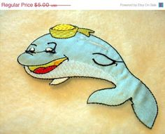 Cute Blue Whale in her hat applique  Iron on by SHOPTILLYOUDROPNOW, $4.50