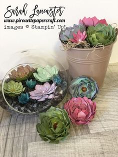 create beautiful paper creations that look real with the oh so succulent bundle from #stampinup click for details of card stocks and inks used   Sarah Lancaster pirouette paper craft