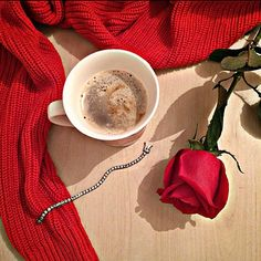 Coffee with love/ rose/ red/
