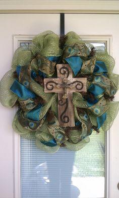 Cross Wreath  Door Wreath  Peacock by SouthernWreathDesign on Etsy, $85.00