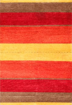Rugsville Gabbeh Stripes Rust Gold Wool 17022 Rug