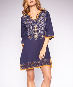 Love this Navy Embroidered Notch Neck Tunic by Icy Fashion on #zulily! #zulilyfinds
