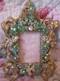 Gold & Green Vintage Jeweled Frame