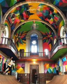 My Owl Barn: A Church Transformed into a Skate Park Covered in Colorful Murals by Okuda San Miguel Transformers, Okuda, Colossal Art, Sistine Chapel, Art And Illustration, Skate Park, Street Art Graffiti, Psychedelic Art, Kirchen