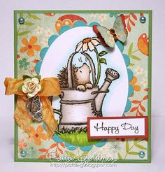 Penny Black Love the idea of the little hedgehog in the watering can instead of the usual flowers. Penny Black Cards, Penny Black Stamps, Best Wishes Card, Magnolia, Origami, Art N Craft, Cat Cards, Get Well Cards, Animal Cards