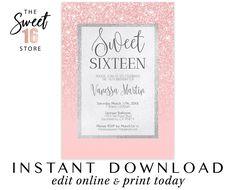 Sweet Sixteen Invitations Rose Gold Glitter and Blush Pink Printable File, Sweet 16 Printable Invita Sweet Sixteen Invitations, Pink Invitations, Elegant Invitations, Birthday Party Invitations, Invitation Cards, Wedding Invitations, Birthday Themes For Boys, Teen Birthday, Quinceanera Invitations
