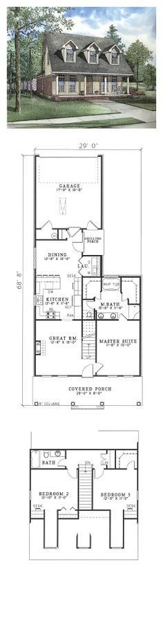 Colonial House Plan 62328 | Total Living Area: 1543 sq. ft., 3 bedrooms & 2 bathrooms. An expansive great room with fireplace and staircase separate the family quarters from a glorious Master Suite. A family oriented kitchen is centrally located and has a dining area, laundry room and grilling porch. #houseplan #colonialstyle