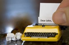 """Dear John..."" Tiny yellow typewriter."