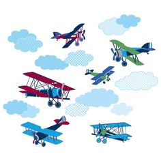 WallPops!® Mighty Vintage Planes Wall Art Kit -Blue